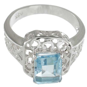 925 Sterling Silver Platinum Finish Genuine Topaz Ring