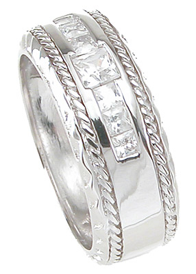 925 Sterling Silver Princess Cut Mens Wedding Band