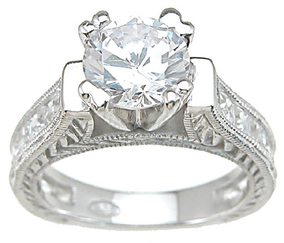 925 Sterling Silver Rhodium Finish CZ Princess Wedding Set Ring