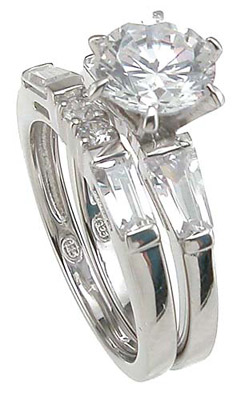 925 Sterling Silver Rhodium Finish CZ Fashion Engagement Set Ring