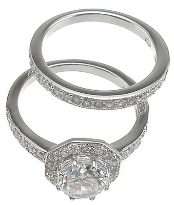 925 Sterling Silver Rhodium Finish CZ Antique Style Engagement Set Ring