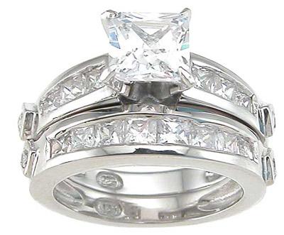 ewholesalesilver 925 Sterling Silver Rhodium Finish CZ Princess Wedding Set