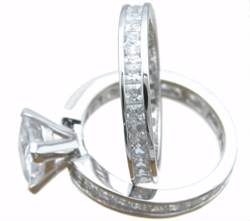 925 Sterling Silver Princess Eternity Wedding Set