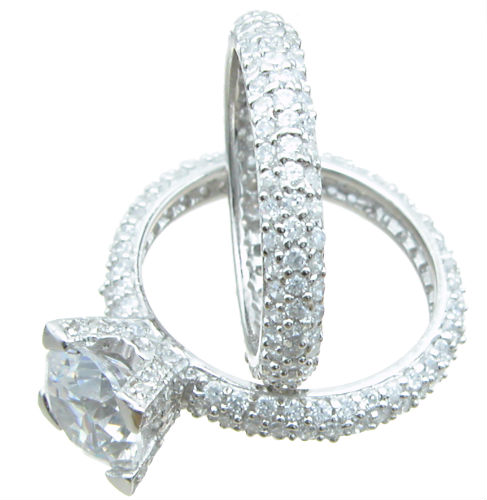 925 Sterling Silver Pave Eternity Wedding Set