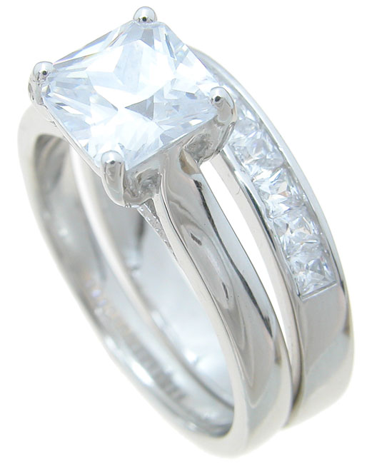 wholesale 925 sterling silver wedding ring set