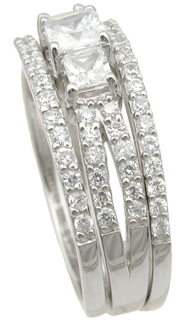 wholesale 925 sterling silver double band wedding ring set