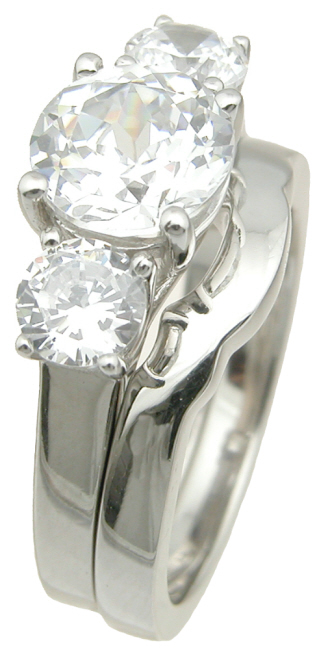 wholesale 925 sterling silver three stone wedding ring set