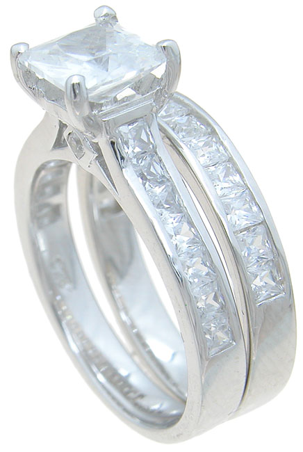 wholesale 925 sterling silver princess engagement ring set