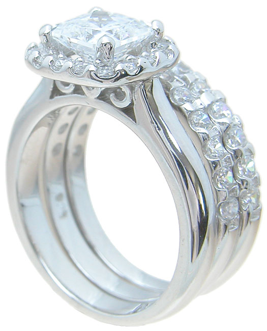 wholesale 925 sterling silver halo engagement ring set