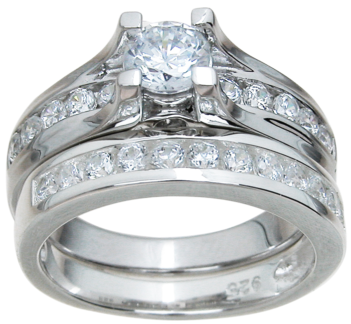 925 sterling silver brilliant wedding set wholesale cz