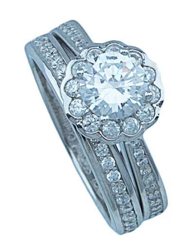 3/4ct brilliant 925 silver Sterling Couture flower wedding ring set