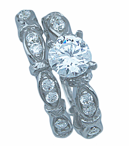 3/4ct brilliant 925 silver Sterling Couture wedding ring set