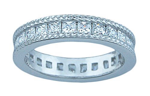 1.5ct princess 925 silver Sterling Couture wedding ring set