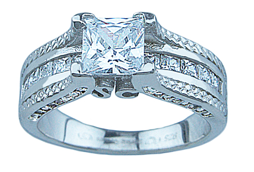 1.25ct princess 925 silver Sterling Couture engagement ring set