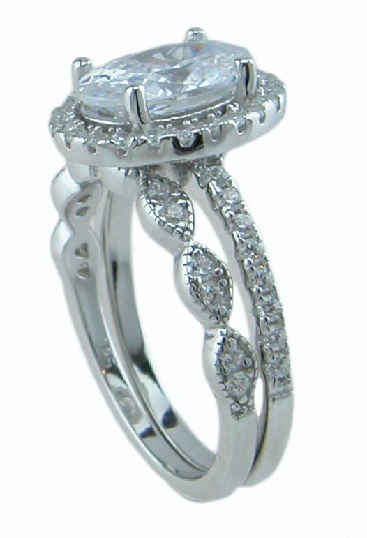 925 Sterling silver antique style wedding ring set